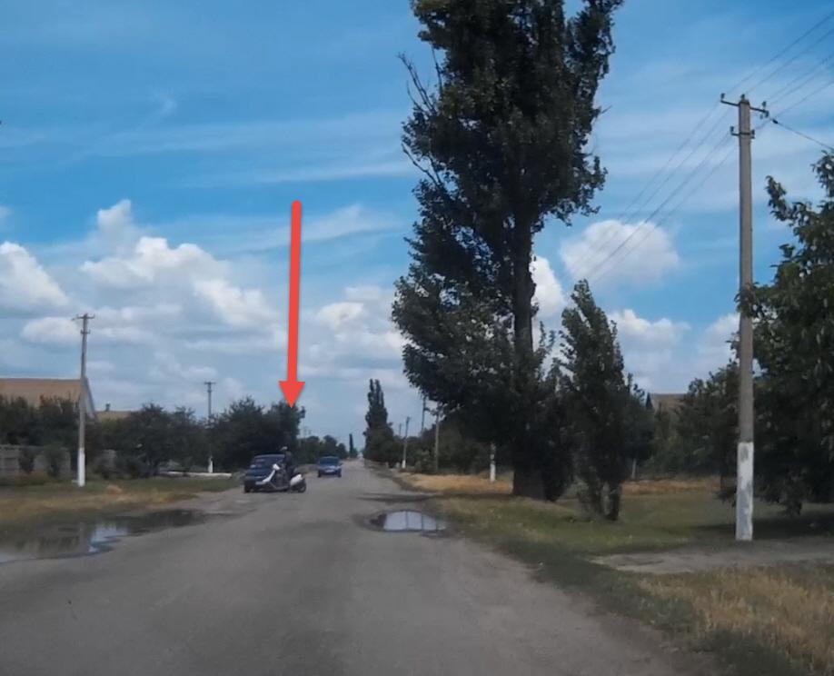 Дорожный инцидент со скутером. Село Гирсовка по дороге к Степановке.