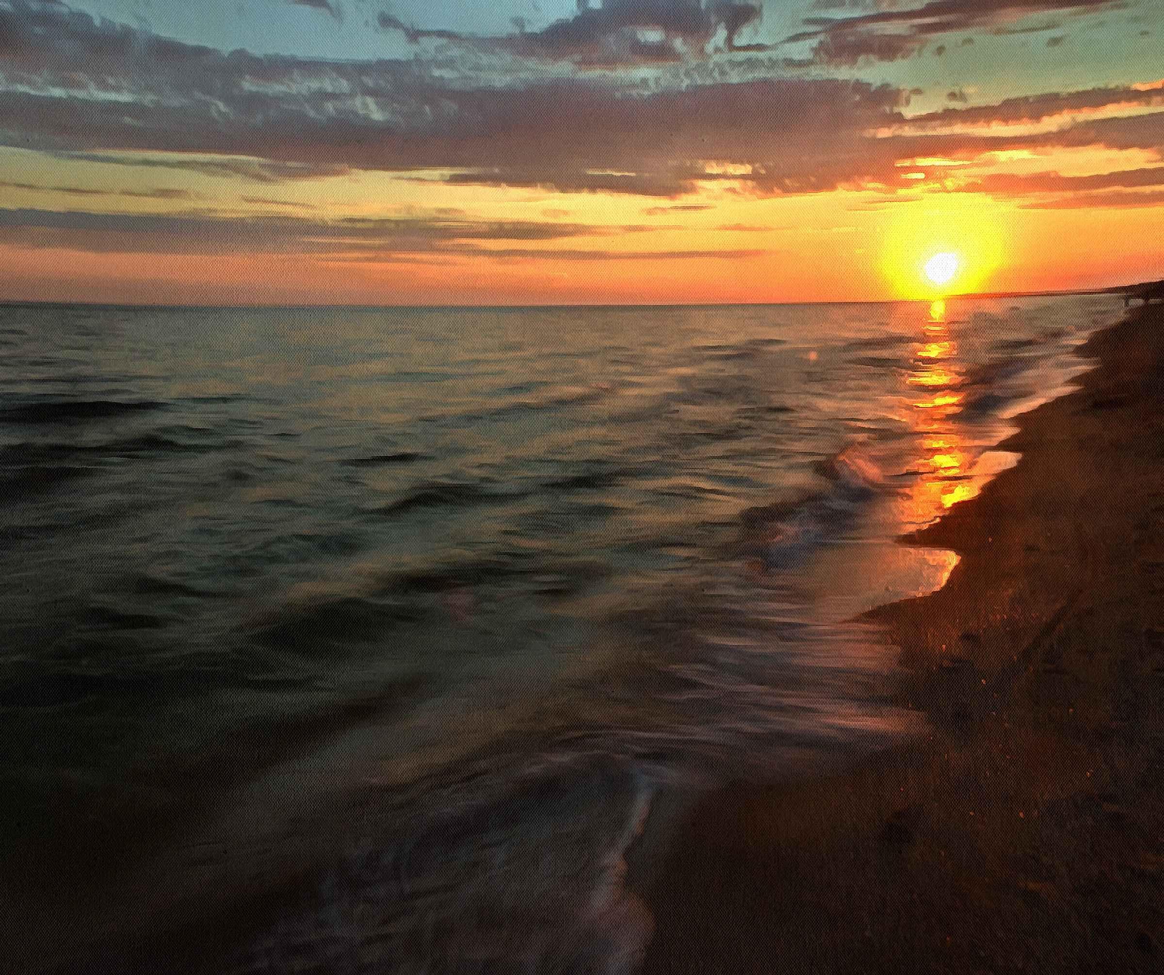 Азовское море. Закат солнца. Картина.