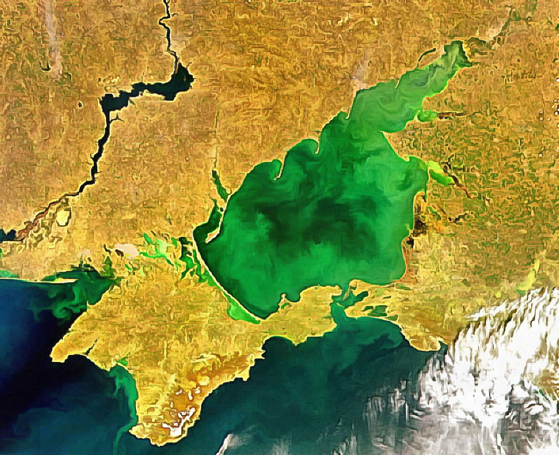 Азовское море. Вид со спутника.