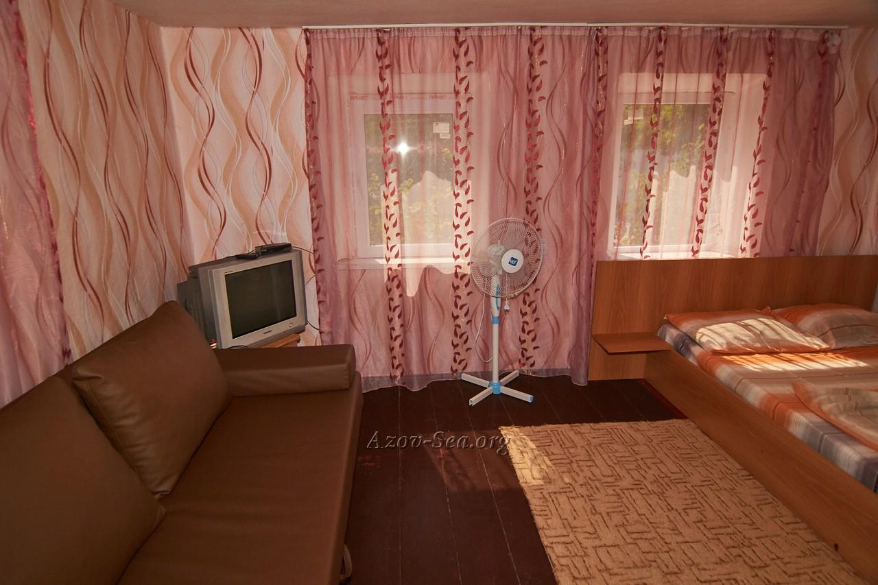Гостевой дом ДНЕПР. Степановка Первая. Отдельный домик. Диван и телевизор.