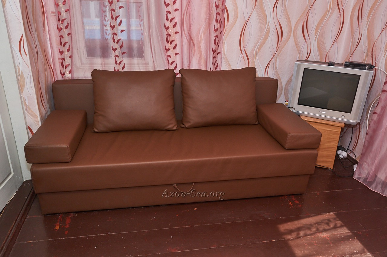 Кожаный диван. Гостевой дом ДНЕПР. Степановка Первая. Отдельный домик.